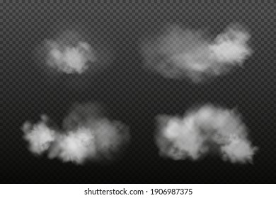 White vector cloudiness ,fog or smoke on dark checkered background.SCloudy sky or smog over the city.Vector illustration.
