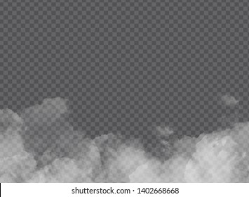 White vector clouds, fog or smog on transparent background. Vector illustration special effect