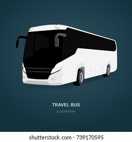 White Vector Coach City Bus. Passenger travel bus side view in perspective.