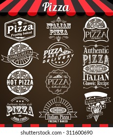 """White vector Collection of Pizza Labels and Badges in Vintage Style on blackboard. See more in set """"Labels"""" of my portfolio"""