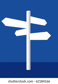 A white vector crossroad sign on a blue background