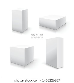 White vector cube set. Vector stock 3d illustration without background.