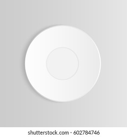 White vector cup of tea or coffee on saucer mock up isolated on grey background. Filled with drink dish design. cup of tea or coffee on saucer frame layout for decorate. Top view