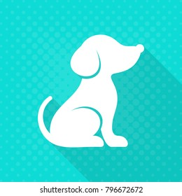 White vector cute dog flat icon turquoise background