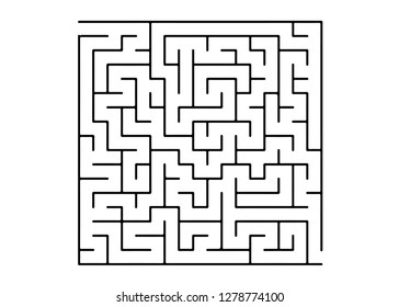 White vector dackdrop with a black conundrum. Simple illustration with a maze on a white background. Concept for pazzle, labyrinth books, magazines.