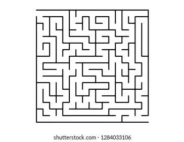 White vector dackdrop with a black conundrum. Modern illustration with maze on a white backdrop. Concept for pazzle, labyrinth books, magazines.