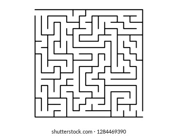 White vector dackdrop with a black conundrum. Maze design in a simple style on a white background. Concept for pazzle, labyrinth books, magazines.