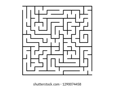 White vector dackdrop with a black conundrum. Abstract illustration with maze on a white background. Concept for pazzle, labyrinth books, magazines.