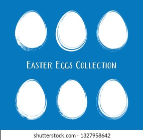 White vector easter egg silhouettes brush stroke style