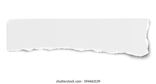 White vector elongate paper tear wisp with soft shadow isolated