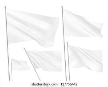 White vector flags. A set of 5 wavy 3D flags created using gradient meshes