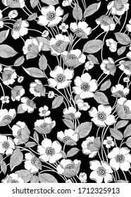 white vector flower image on black background