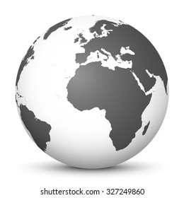 White Vector Globe Icon with Gray Continents - Planet Earth - World Symbol on White Background with Smooth Shadow.