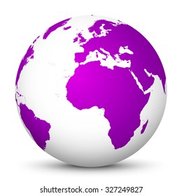 White Vector Globe Icon with Purple Continents - Planet Earth - World Symbol on White Background with Smooth Shadow.