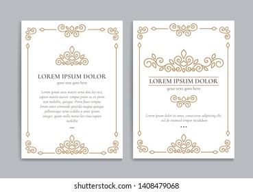 White vector greeting card with golden luxury frame template. Great for invitation, flyer, menu, brochure, monogram, background, wallpaper, decoration, packaging or any desired idea.