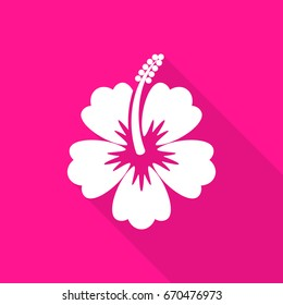 White vector hibiscus flower flat icon long shadow