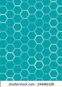 White vector honeycomb pattern over blue background