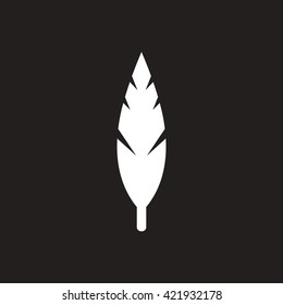 white vector icon on black background tree leaf