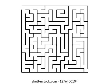 White vector layout with a black maze, riddle. Modern illustration with maze on a white backdrop. Concept for pazzle, labyrinth books, magazines.