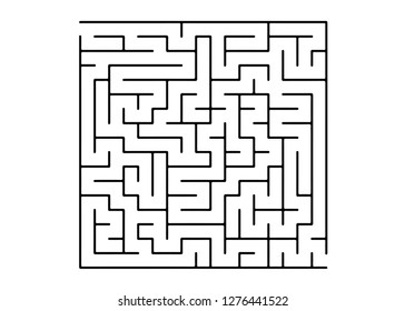 White vector layout with a black maze, riddle. Black and white maze in a simple style. Concept for pazzle, labyrinth books, magazines.