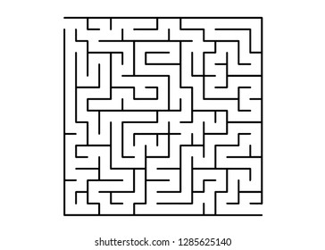 White vector layout with a black maze, riddle. Simple illustration with a maze on a white background. Concept for pazzle, labyrinth books, magazines.