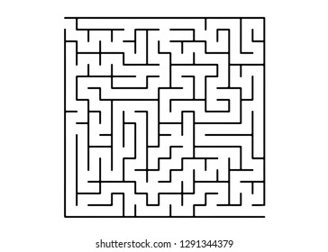 White vector layout with a black maze, riddle. Complex illustration with mazes on a white template. Concept for pazzle, labyrinth books, magazines.