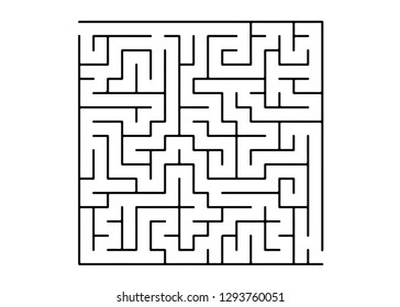 White vector layout with a black maze, riddle. Maze design in a simple style on a white background. Concept for pazzle, labyrinth books, magazines.