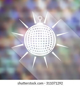White vector mirror disco ball on blurred background