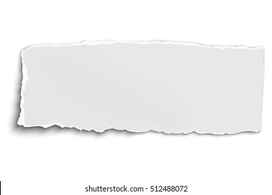 White vector oblong paper tear isolated on white background with soft shadow
