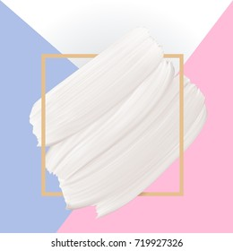 White vector paint brush texture on pastel color background. Template female girly emblem design.