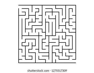 White vector pattern with a black labyrinth. Complex illustration with mazes on a white template. Concept for pazzle, labyrinth books, magazines.