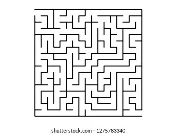 White vector pattern with a black labyrinth. Abstract illustration with maze on a white background. Concept for pazzle, labyrinth books, magazines.
