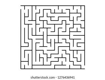 White vector pattern with a black labyrinth. Maze design in a simple style on a white background. Concept for pazzle, labyrinth books, magazines.