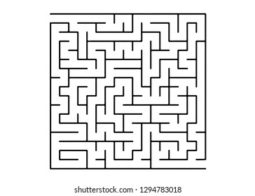 White vector pattern with a black labyrinth. Simple illustration with a maze on a white background. Concept for pazzle, labyrinth books, magazines.