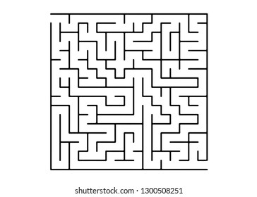 White vector pattern with a black labyrinth. Modern illustration with maze on a white backdrop. Concept for pazzle, labyrinth books, magazines.