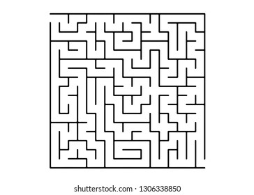 White vector pattern with a black labyrinth. Black and white maze in a simple style. Concept for pazzle, labyrinth books, magazines.