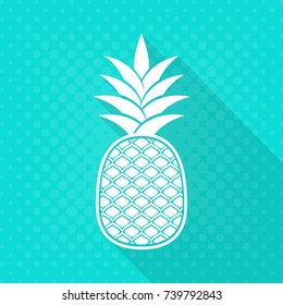 White vector pineapple flat icon turquoise halftone background