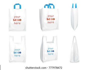 White vector plastic shopping bags with blue handles, disposable T-shirt bags packaging front and side view, 3D realistic illustrations isolated on white background. Mock up, template for brand design