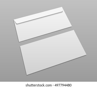 White vector postal envelopes for design presentation.