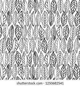 White vector repeat pattern with black line art structured leaves in rows. Surface pattern design.