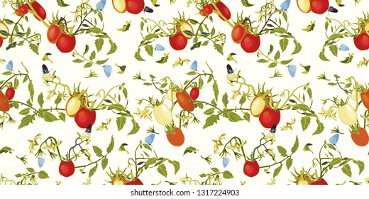 White vector repeat pattern with red tomatoes, blossoms and branches., tomato plant and butterfly. Novelty pattern. Kitchen.