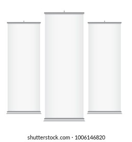 White vector roll-up banners, isolated on a white background. Vertical banner templates.