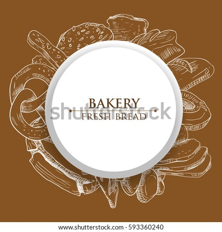 White Vector Round Frame Sketch Bakery Stock Vector (Royalty Free ...