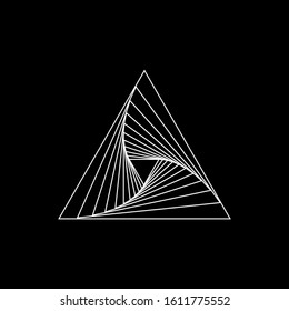 White vector shape in triangle form. Geometric art. Design element for logo, tattoo, sign, symbol, template, web pages, posters, monochrome pattern and abstract background