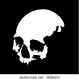 A white vector skull on black background