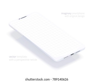 White vector smartphone. 3d realistic template of imaginary phone. Empty screen with thin grid for inserting any UI. Floating mock up with a blank display for business presentations. Perspective view.