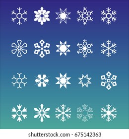 White vector snowflakes on blue background