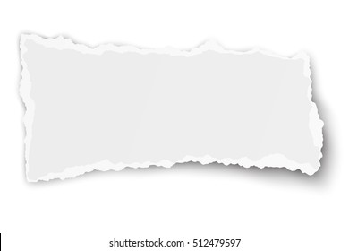 White vector square paper tear isolated on white background with soft shadow
