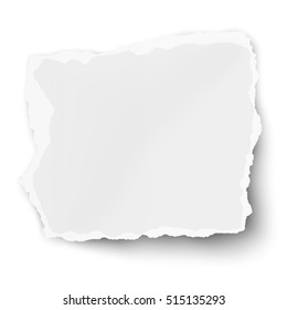 White vector square paper tear with soft shadow isolated on white background