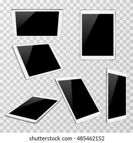 White vector tablet at different angles of view isolated on transparent plaid background. Set of modern portable gadget illustration